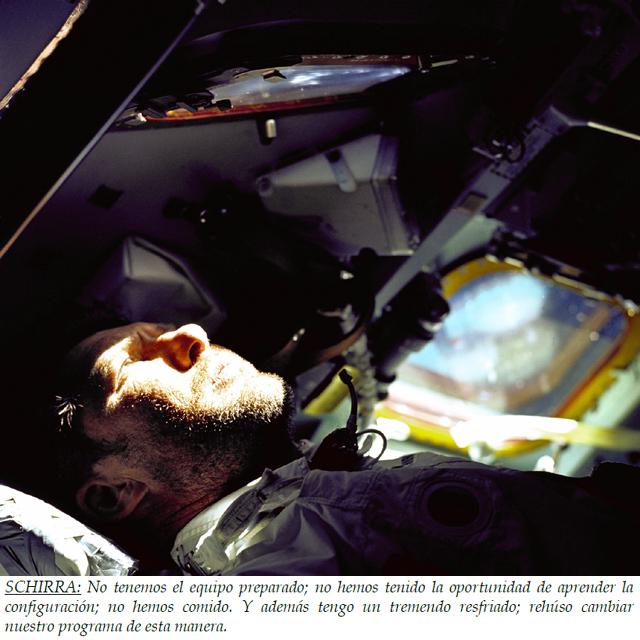 Wally Schirra cabreado con el control de misión en Houston (Apolo 7).