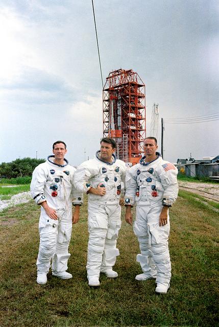 Tripulación del Apolo 7. En el centro Walter Schirra.