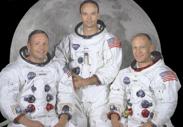 Tripulación del Apolo 11. De izq. a dcha: Neil Armstrong, Michael Collins y Edwin Buzz Aldrin.