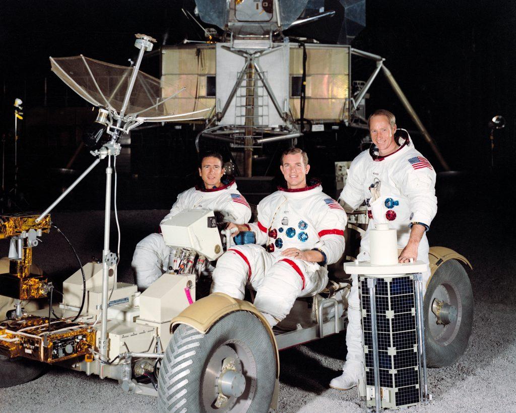 Tripulación del Apolo 15 (izq. a dcha: Irwin, Scott y Worden).