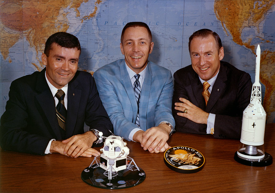 La tripulación del Apolo 13 (Izq. a dcha: Haise, Swigert y Lovell)