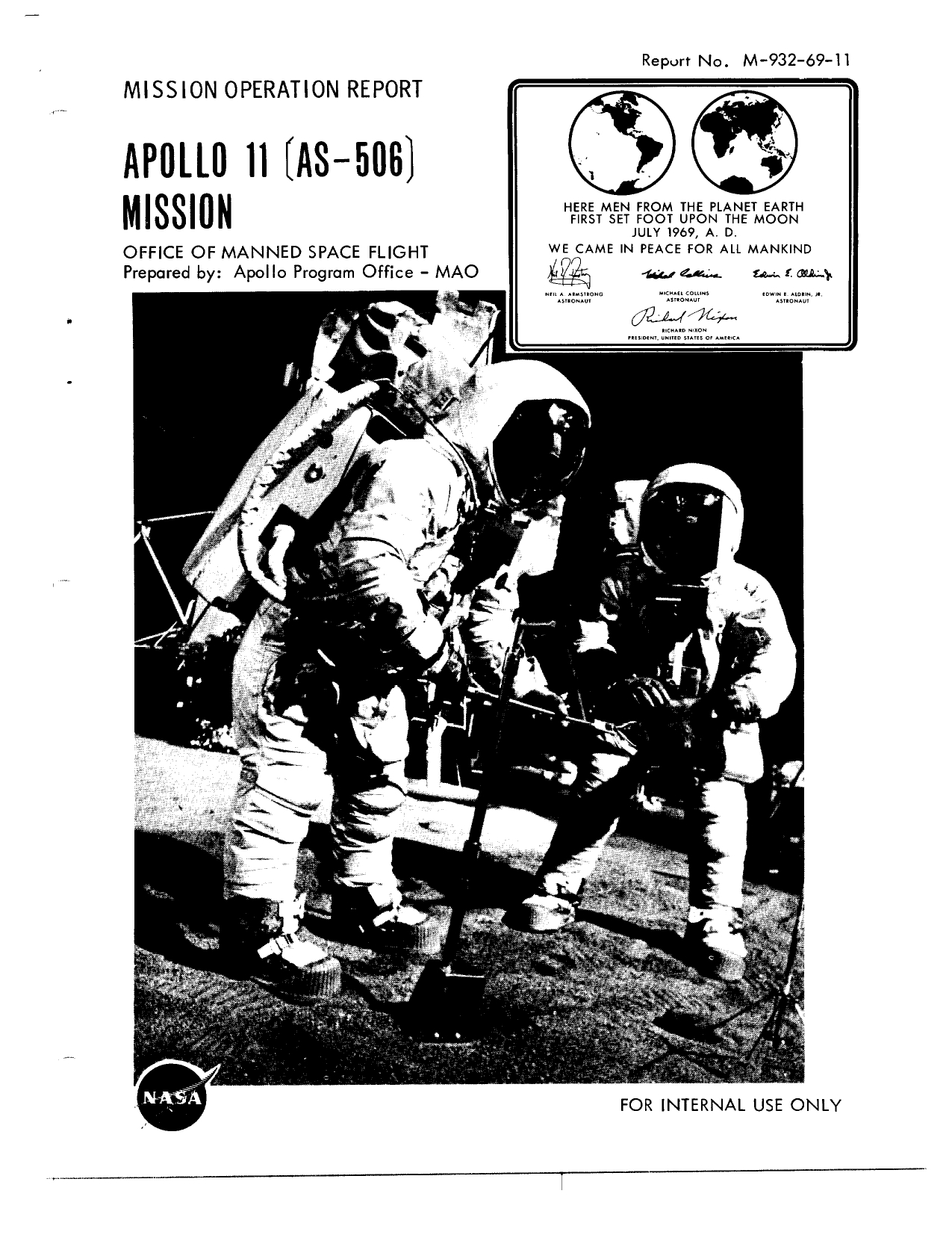 Apollo 11 - Mission Operation Report (MOR)